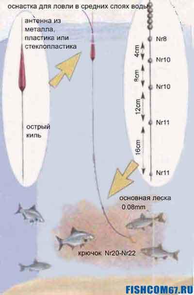 Поплавочная оснастка для ловли в средних слоях воды