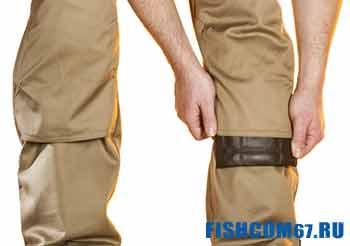 Коленный карман на зимних штанах для рыбалки