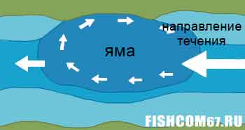 Схема кругового течения в русловой яме
