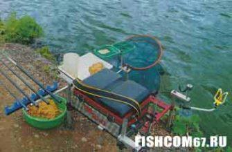 Рыболовное оборудование установленое на берегу