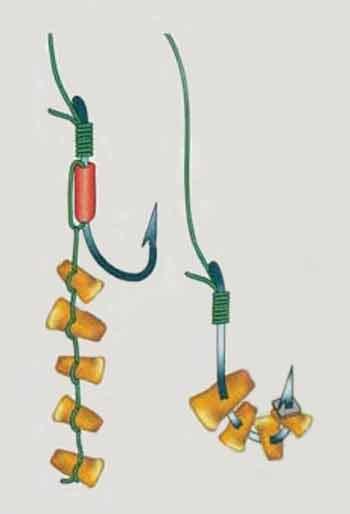 Способы монтажа на крючке зерен кукурузы