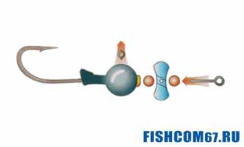 Уловистая джиг-головка с пропеллером на окуня