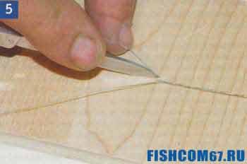 Ровно обрезается короткий конец лески