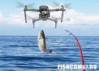 Дрон доставляет улов рыбаку прямо в руки